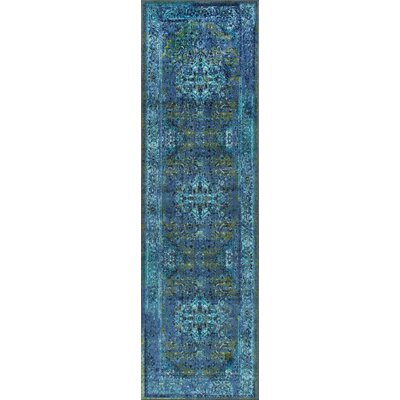 Tyrese Blue Area Rug Rug Size: Runner 26 x 12