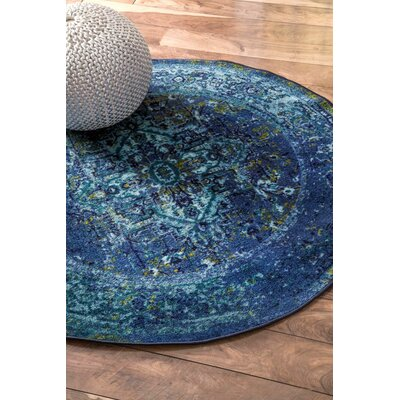 Tyrese Blue Area Rug Rug Size: Round 5