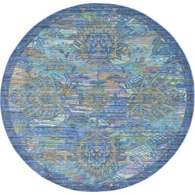 Rune Blue Area Rug Rug Size: Round 6'