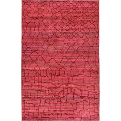 Rune Red Area Rug Rug Size: Round 6