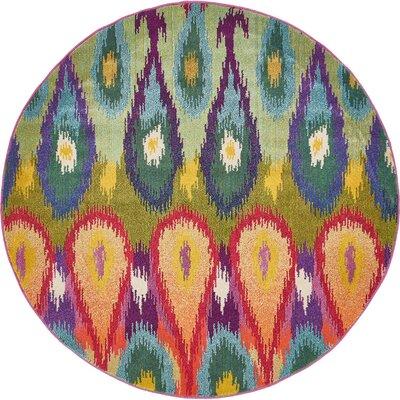 Radeema Ikat Area Rug Rug Size: Round 6
