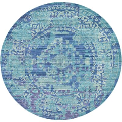 Rune Light Blue Area Rug Rug Size: Round 6