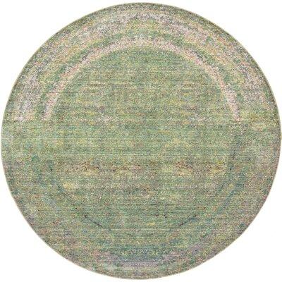 Rune Green Area Rug Rug Size: Round 6