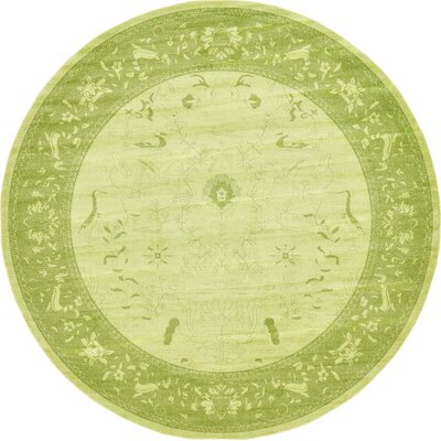 Lisbon Light Green Area Rug Rug Size: Round 122