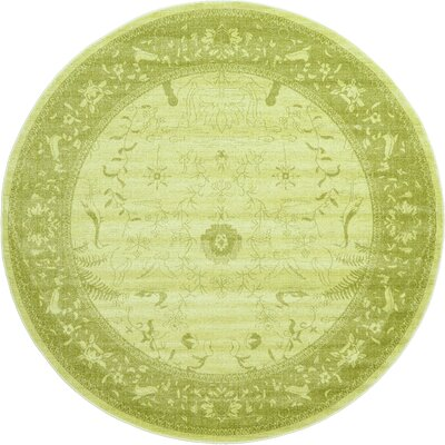 Lisbon Light Green Area Rug Rug Size: Round 6