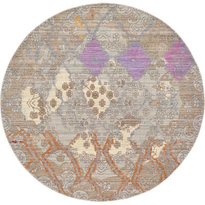 Rune Gray Area Rug Rug Size: Round 6