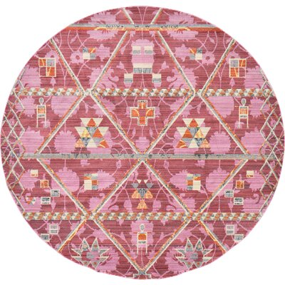 Bradford Rectangle Magenta Area Rug Rug Size: Round 6