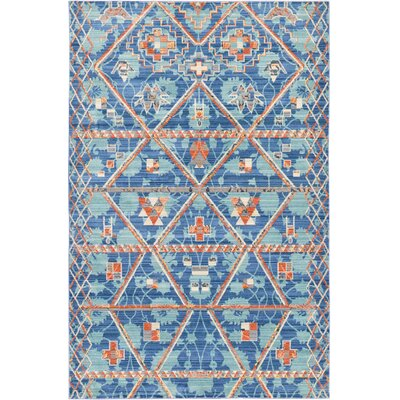 Rune Blue Area Rug Rug Size: 5 x 8