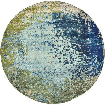 Hayes Blue/Green Area Rug Rug Size: Round 8