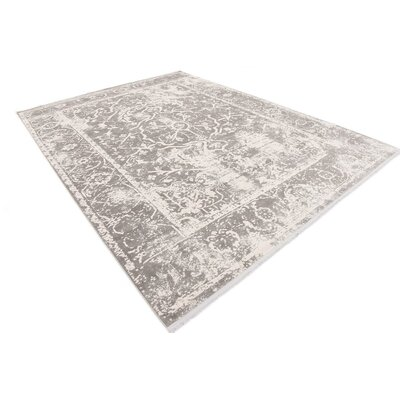 Sherrill Gray Floral Area Rug Rug Size: Rectangle 9 x 12
