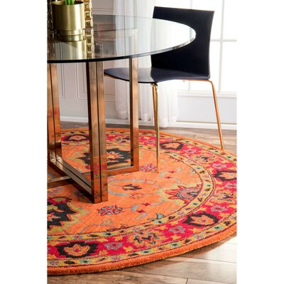 Devona Orange Montesque Area Rug Rug Size: Square 8