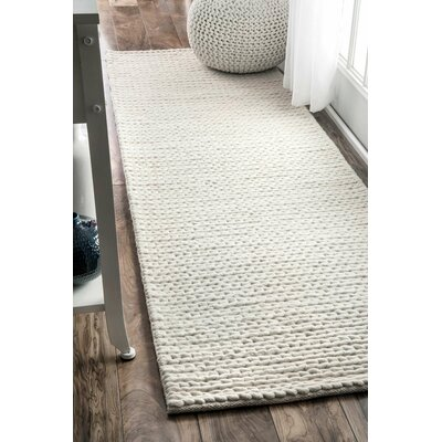 Arviso Hand-Woven Wool Off White Area Rug Rug Size: Runner 26 x 8