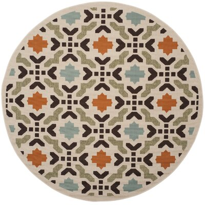 Clermont Cream Indoor/Outdoor Area Rug Rug Size: Round 67