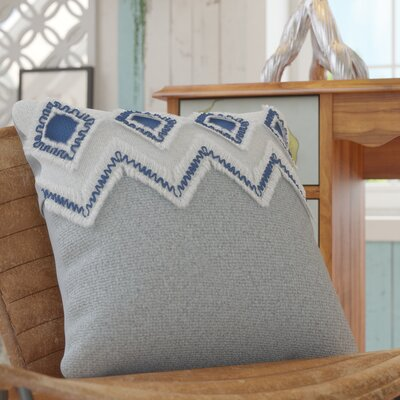 Othmane Embroidered Cotton Throw Pillow Color: Blue/Gray