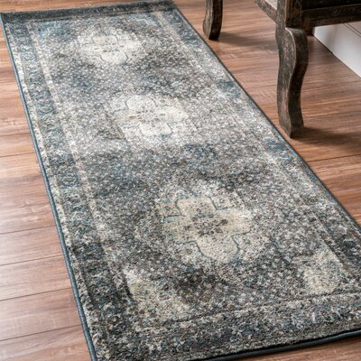 Pascoe Blue/Grey & Silver Area Rug Rug Size: Runner 28 x 711