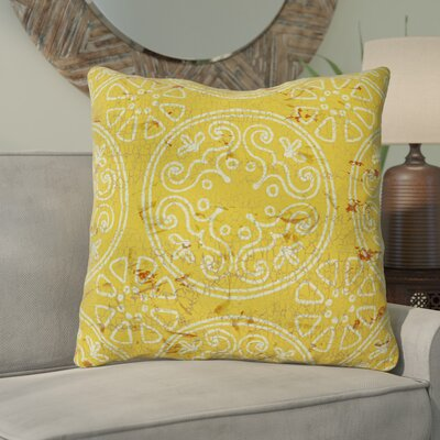 Theo Printed Throw Pillow Size: 16 H x 16 W x 4 D, Color: Yellow