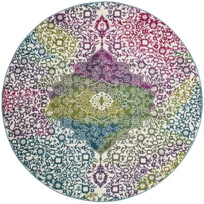Shaddix Beige/Green/Purple Area Rug Rug Size: Round 67