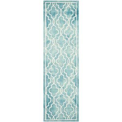 Langdon Hand-Tufted Turquoise/Ivory Area Rug Rug Size: Runner 23 x 8