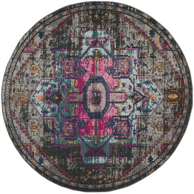 Bunn Anthracite/Light Gray Area Rug Rug Size: Round 67