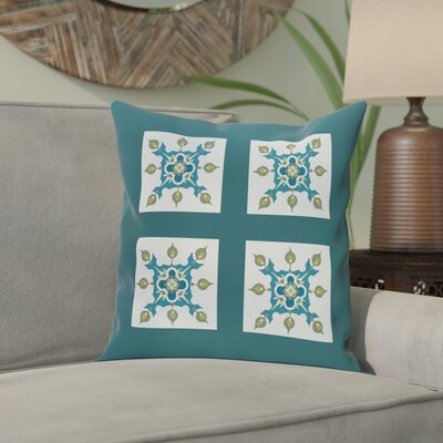 Shivansh Geometric Print Outdoor Pillow Color: Deep Sea, Size: 16 H x 16 W x 1 D
