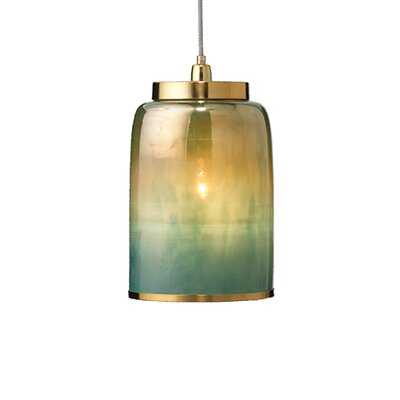 Keeney 1-Light Inverted Pendant Shade Color: Aqua