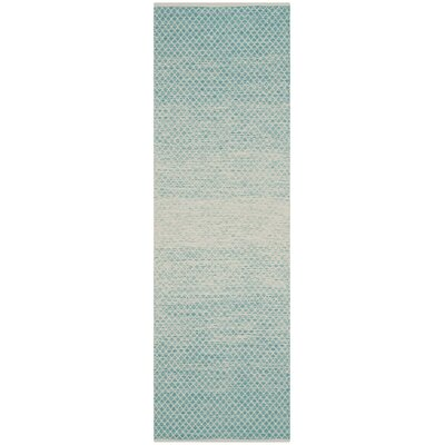 Saleem Hand-Woven Turquoise/Ivory Area Rug Rug Size: Rectangle 23 x 9