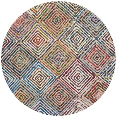 Tanner Hand-Tufted Blue/Green Area Rug Rug Size: Round 4