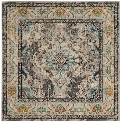 Newburyport Grey & Silver Area Rug Rug Size: Square 5 x 5