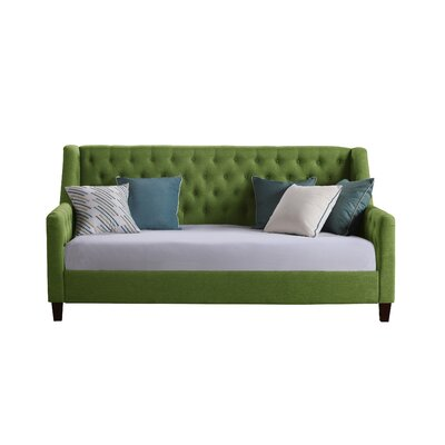 Pennington Twin Size Tufted Daybed Color: Green
