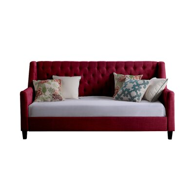 Pennington Twin Size Tufted Daybed Color: Burgundy