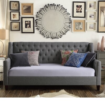 Sandoval Twin Size Tufted Daybed Color: Gray