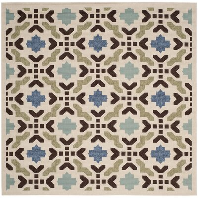 Elvire Cream/Aqua Indoor/Outdoor Area Rug Rug Size: Square 67