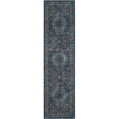 Manya Blue Area Rug Rug Size: Runner 22 x 8