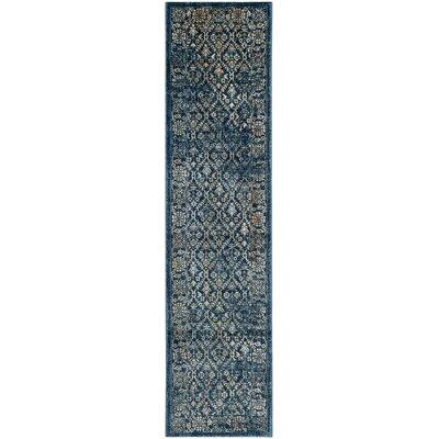 Schneider Navy/Gold Area Rug Rug Size: Runner 2 x 8