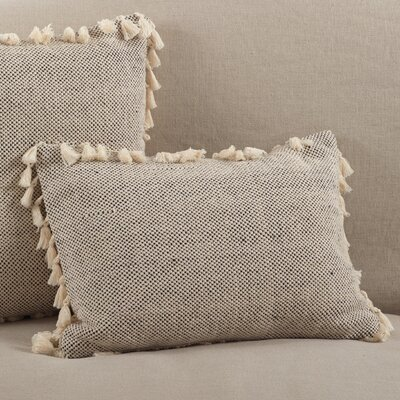 Charleena Moroccan Tassel Fringe Border Cotton Lumbar Pillow