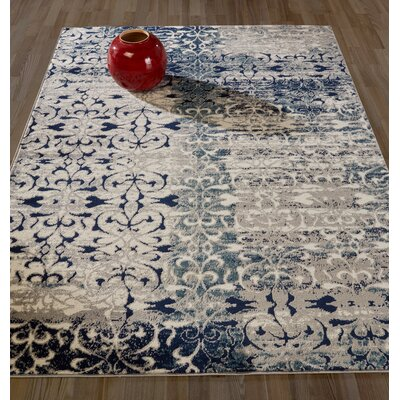 Peabody Beige/Navy Area Rug Rug Size: 53 x 73