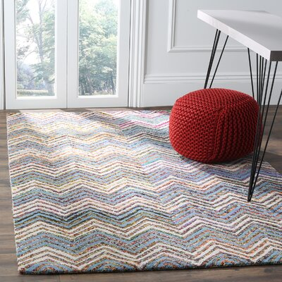 Hand-Tufted Beige/Blue Area Rug Rug Size: 5 x 8