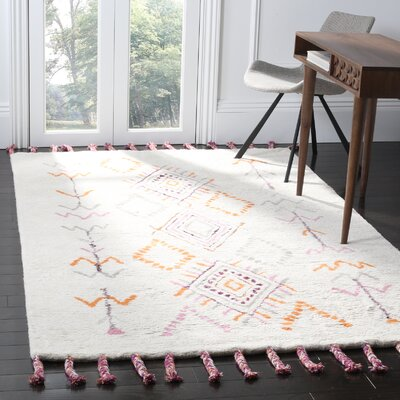 Lockheart Hand-Tufted Gray/Orange Area Rug Rug Size: 5 x 8