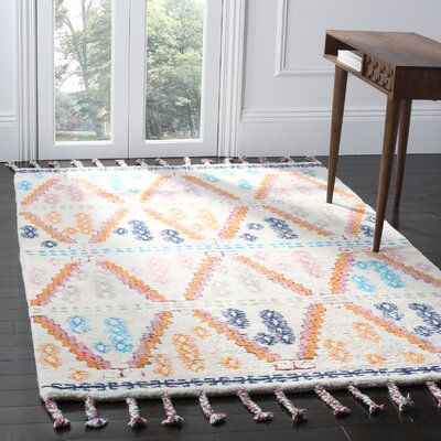 Lockheart Hand-Tufted Orange/Blue Area Rug Rug Size: 5 x 8