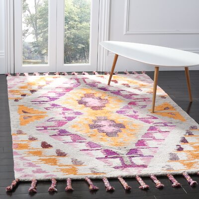 Lockheart Hand-Tufted Orange/Purple Area Rug Rug Size: 5 x 8