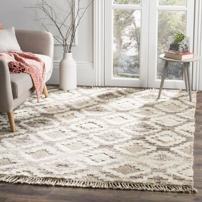 Hawke Hand Woven Wool Ivory/Brown/Beige Area Rug Rug Size: Rectangle 5 x 8