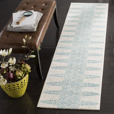 Elson Ivory/Teal Area Rug Rug Size: Runner 2 x 8