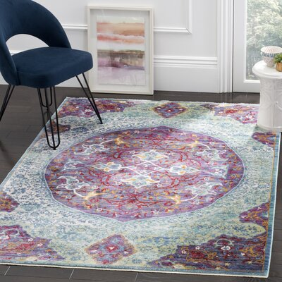 Mellie Purple/Green/Beige Area Rug Rug Size: 5 x 7