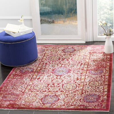 Mellie Fuchsia/Ivory Area Rug Rug Size: Rectangle 3' x 5'