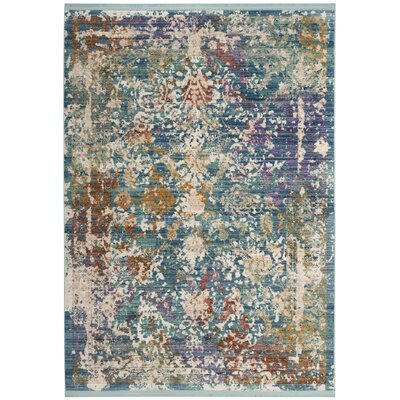 Mellie Green/Beige/Purple Area Rug Rug Size: 5 x 7