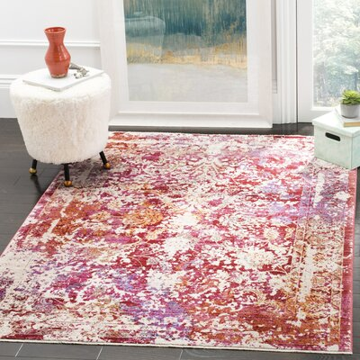 Mellie Red/Beige Area Rug Rug Size: Rectangle 4 x 6