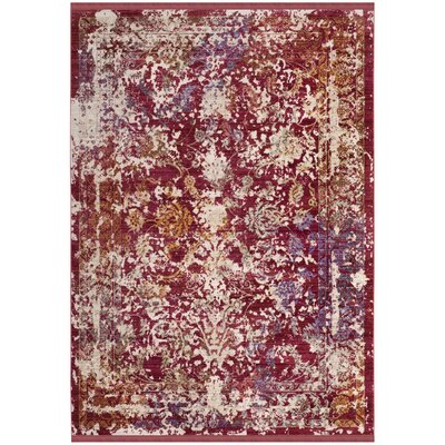 Mellie Red/Beige Area Rug Rug Size: 5 x 7