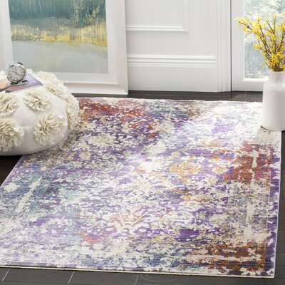Mellie Purple/Beige Area Rug Rug Size: Rectangle 5 x 7