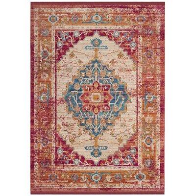 Mellie Red/Blue/Beige Area Rug Rug Size: 5 x 7