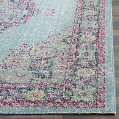 Bunn Light Blue/Navy Area Rug Rug Size: 51 x 76